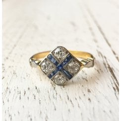 Old Transition Cut Diamond and Sapphire Geometric Cross Ring
