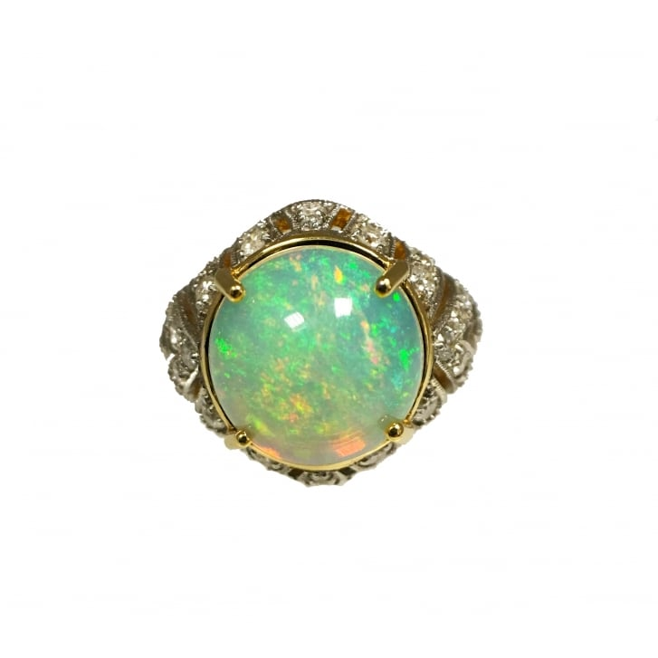 Opal and Diamond Open Gallery Bombe Cocktail Ring