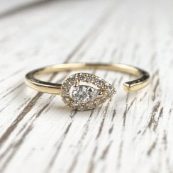 Open Diamond Pear Ring in Yellow Gold