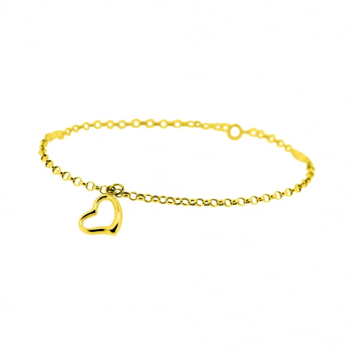 Open Heart Charm on Belcher Chain Style Bracelet