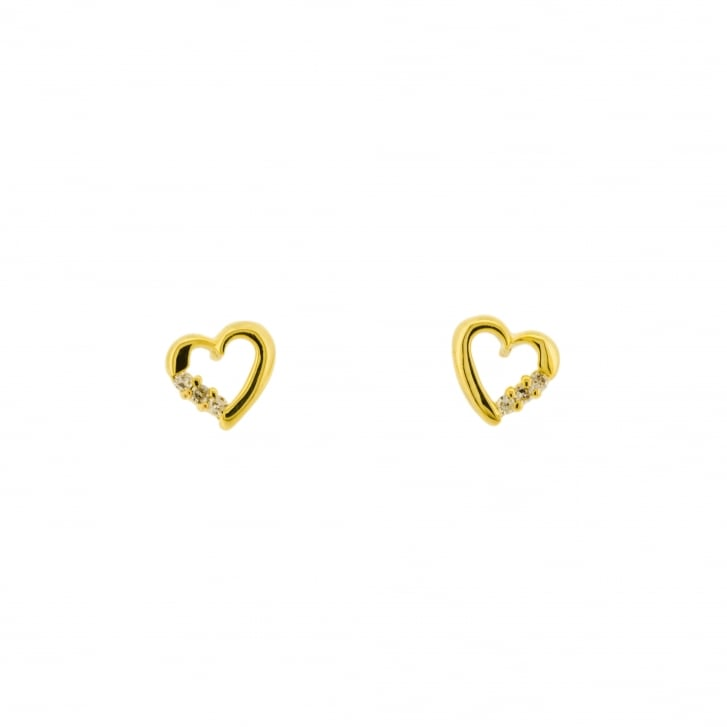 Open Heart with Diamond Accents Stud Earrings
