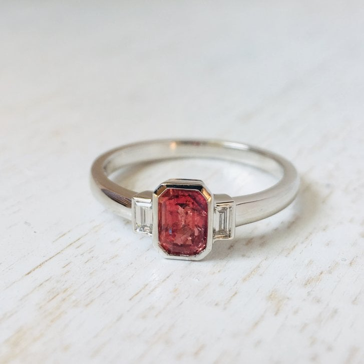 Lila's Orangy-Pink Sapphire and Baguette Diamonds Trilogy Ring