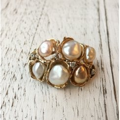 Organic Freshwater Pearl and Diamond Brooch