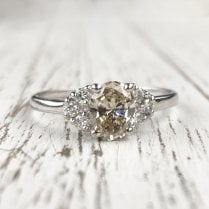 Oval Champagne Diamond Ring with Trefoil Diamond Shoulders