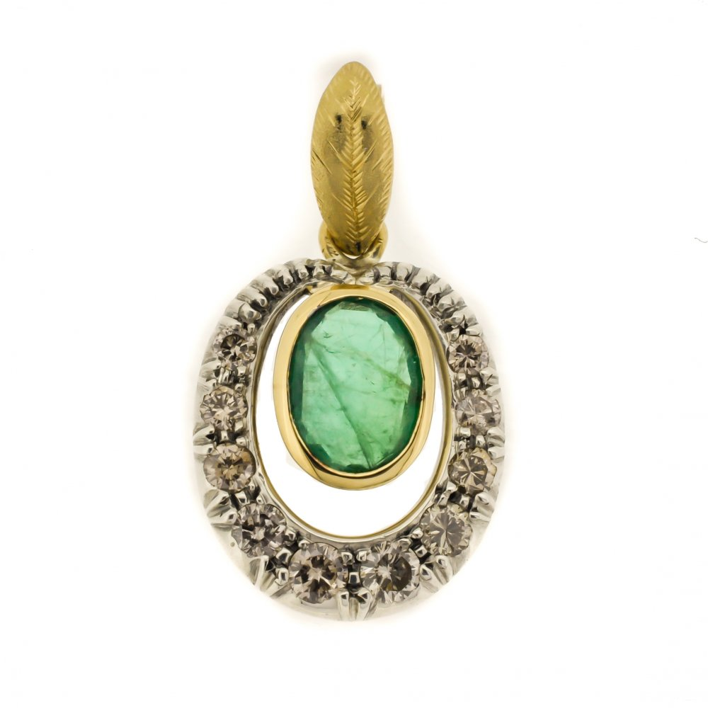 oval emerald and loop pendant