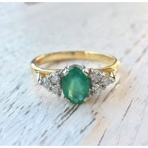 Oval Emerald and Diamond Trefoil Ring