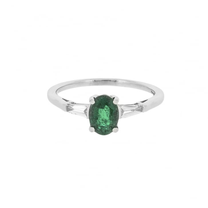 Well-known Emerald and Diamond Engagement Ring DF03