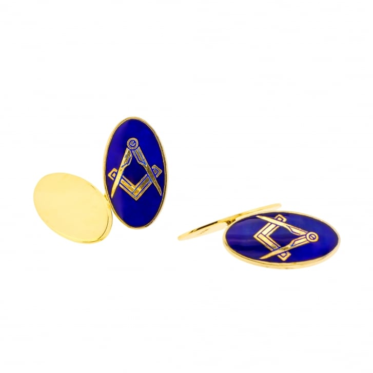 Oval Masonic Cufflinks with Blue Enamel
