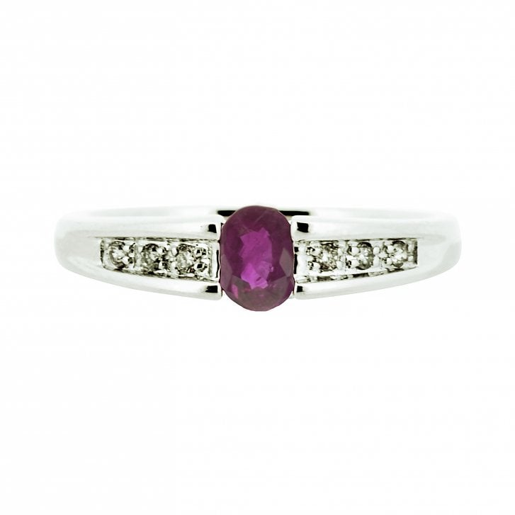 Oval Ruby on Diamond Band Ring