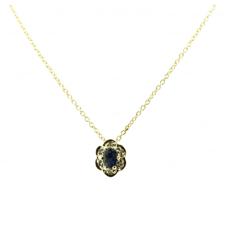 Oval Sapphire and Diamond Cluster Neckalce