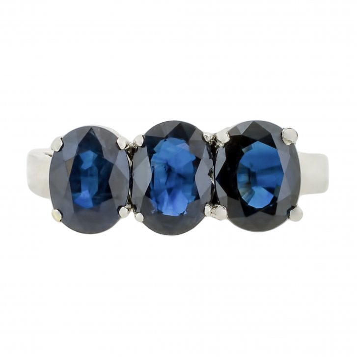 Oval Sapphire Trilogy Ring in White Gold