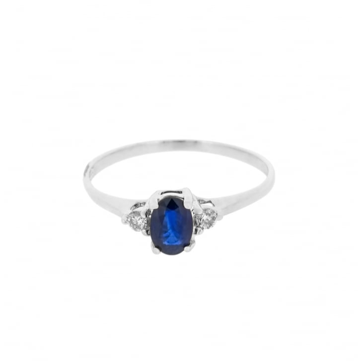 Oval Sapphire with Diamond Sides Solitaire Ring