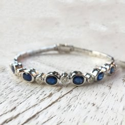Oval Sapphires and Diamond Vintage Bracelet