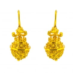Ovoid Cannetille & Granulation Gold Plated Earrings