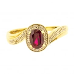 Passion Red Syn Ruby split arm Ring