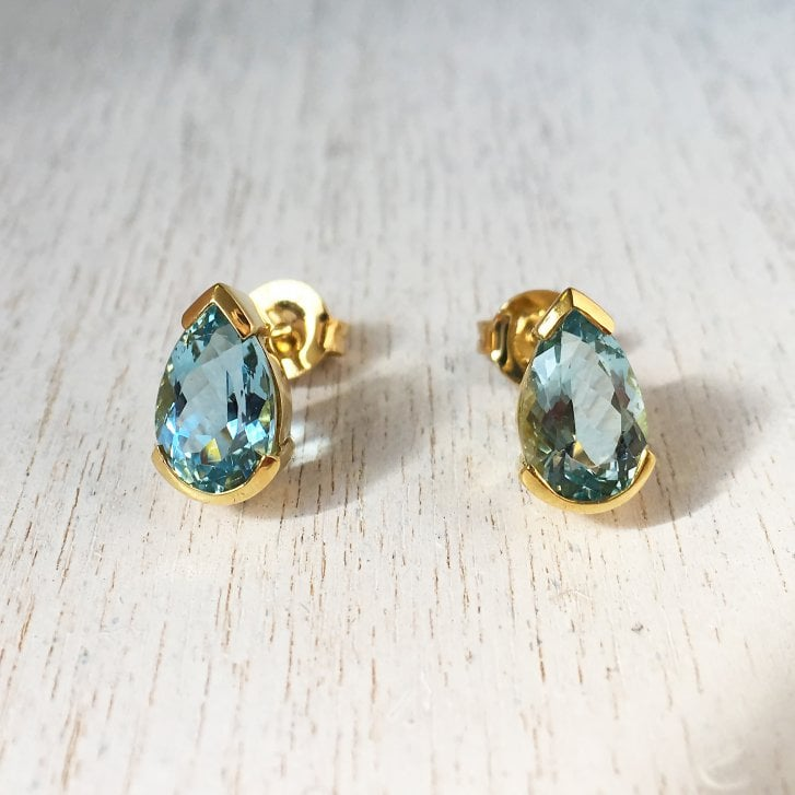 Pear Aquamarine Stud Earrings