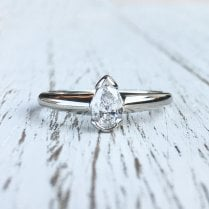 Pear Diamond and Platinum Solitaire Ring
