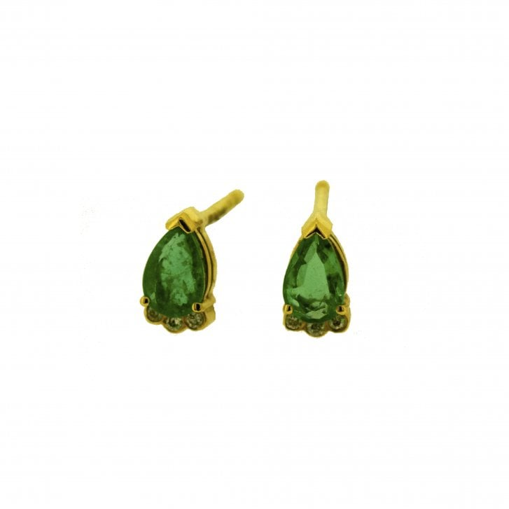 Lila's Pear Emerald and Diamond Accents Stud Earrings