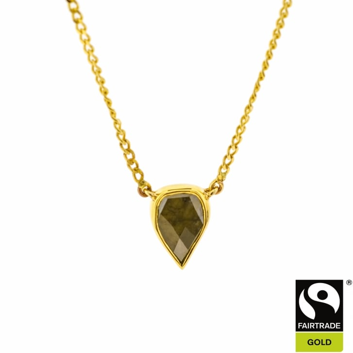 Pear Shaped Rose Cut Diamond Necklace in Fairtrade Gold