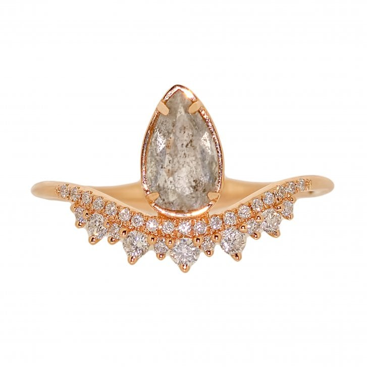 Richard Woo Pear Shaped Rustic Diamond with Round Diamonds Coronet Ring