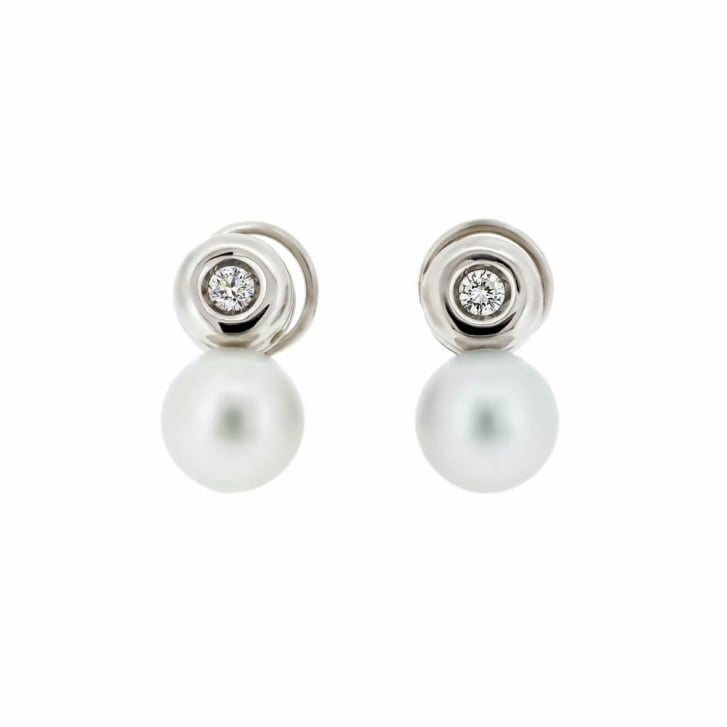Pearl and Diamond Button Earrings