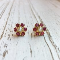 Pearl and Ruby Cluster Earrings in Yellow Gold