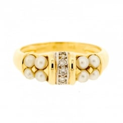 Pearl & Diamond Ring in Two Colours Gold