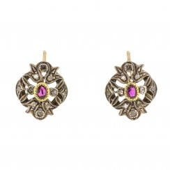 Period Ruby and Rose Cut Diamond Earrings