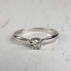 Petite Diamond Engagement Ring with Illusion Setting