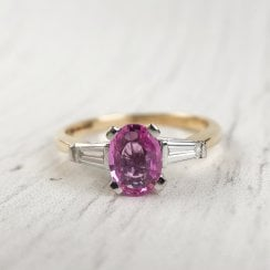 Pink Lab-Created Sapphire and Tapered Baguette Diamonds Ring