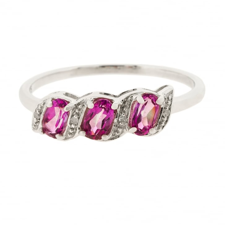 Pink Topaz and Diamond Three Stone Ring