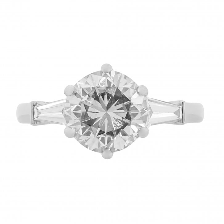 Lila's Platinum Ring with 2.6ct Diamond and Tapered Baguette Shoulders