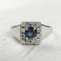 Preloved Sapphire and diamond ring in white gold