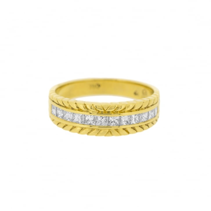 Princess Cut Eternity Band with Rope Finish Decoration