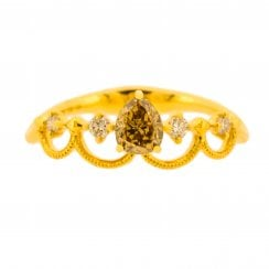 Princess Ring with Pear Shaped Diamond