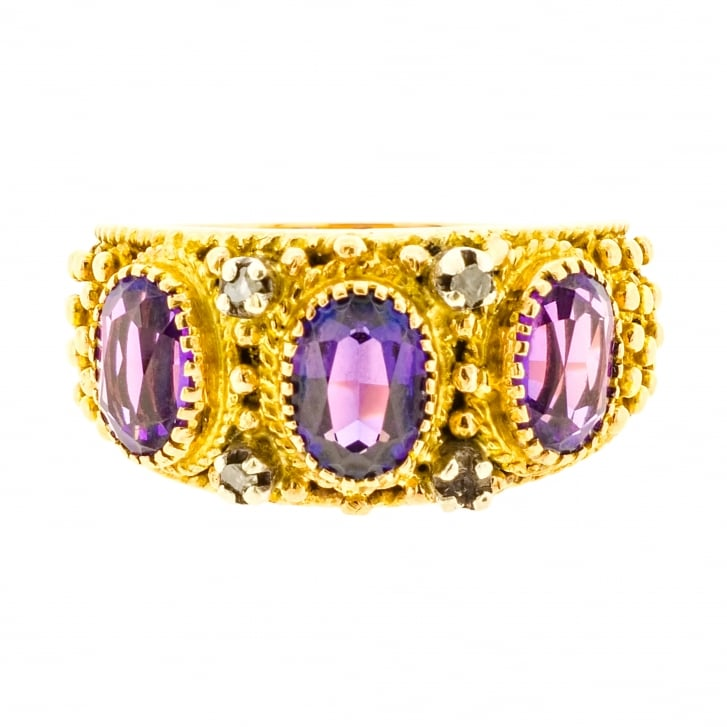 Purple Synthetic Sapphire and Diamond Beaded Ring