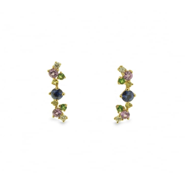 Richard Woo Rainbow Earrings with Scattered Gems