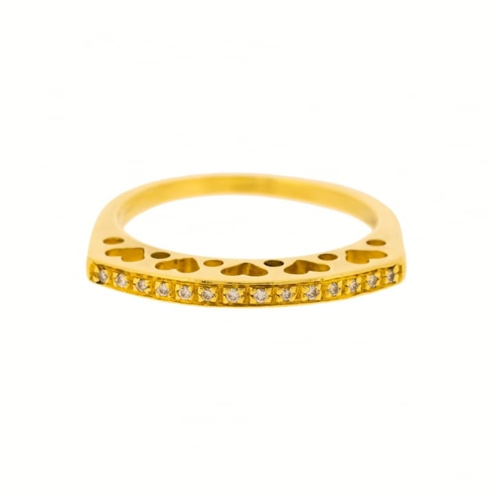 Raised Hearts Half Eternity Band