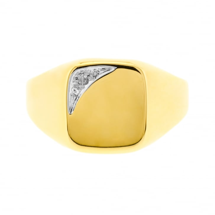 Rectangular Signet Ring With Diamond Touch on Corner