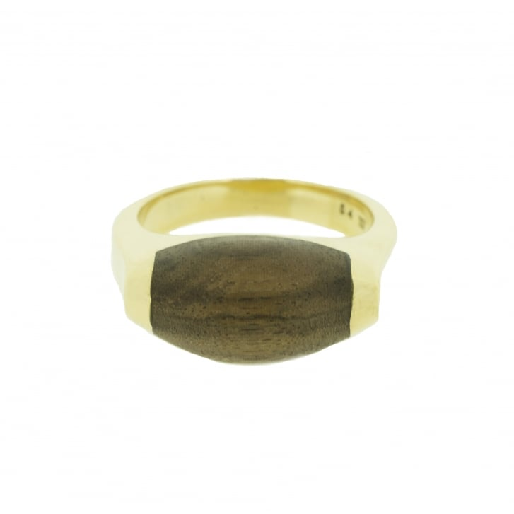 Refined Asprey's Carved Wood Inlaid on 18ct Yellow Gold Ring