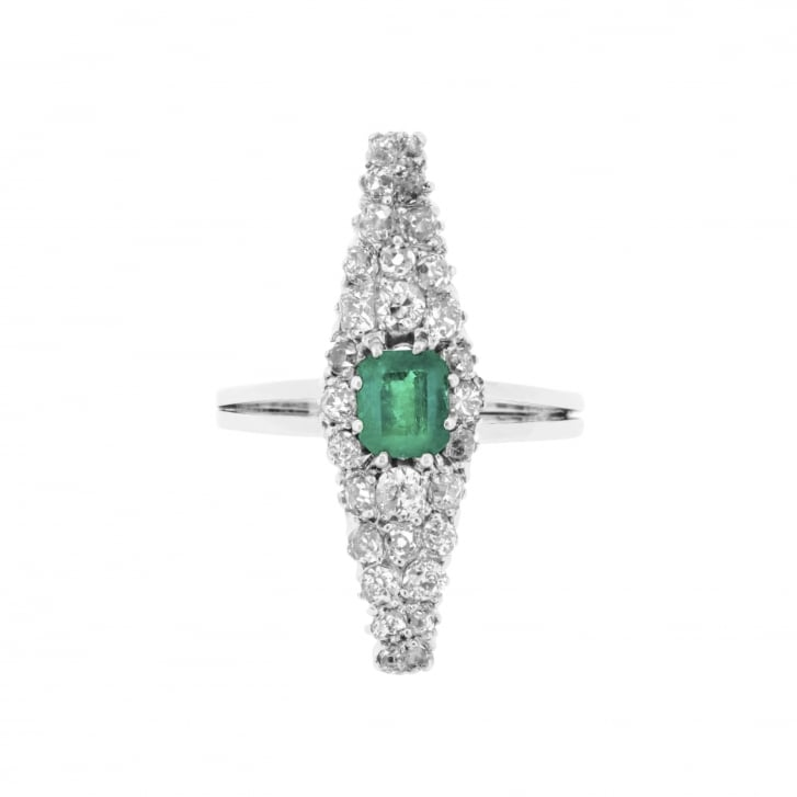 Revival Emerald and Old Cut Diamonds Lozenge Ring