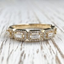 Baguette Diamonds Half Eternity Ring in Yellow gold
