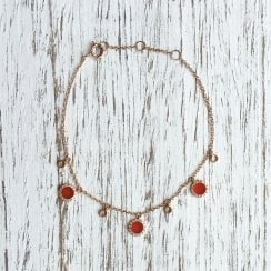 Richard Woo Carnelian and Diamond Halo Charm Bracelet