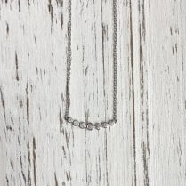 Curved Bar Diamond Necklace in White Gold
