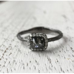 Cushion Rose Cut Grey Diamond and Black Rhodium Ring