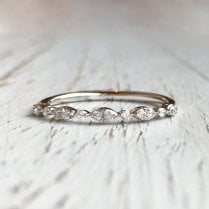 Dainty Diamond Scalloped Band in White Gold
