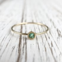Dainty Hexagon Emerald Stacking Ring