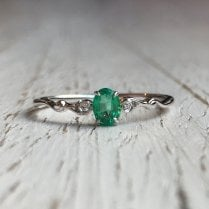 Dainty Oval Emerald Ring in White Gold