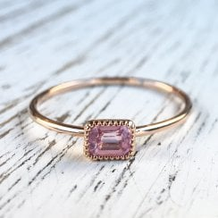 Dainty Pink Sapphire Ring in Rose Gold