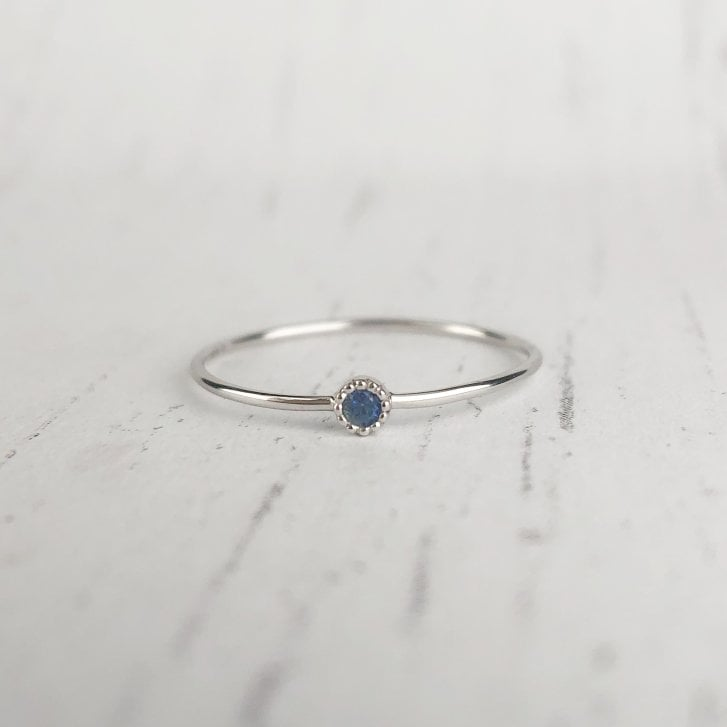 Richard Woo Dainty Sapphire Ring in White Gold
